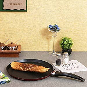 Wonderchef Ruby Series Aluminium Standard 28 cm Dosa Tawa, Black