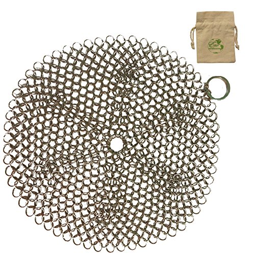 ScrubBrilliant Chainmail with Bamboo Scraper & Canvas Tote- The Easiest, Long-lasting, Multi-Purpose Pan, Grill, Griddle & Cast Iron Cleaner with Gift Wrapping - Cast Iron Grill Rack