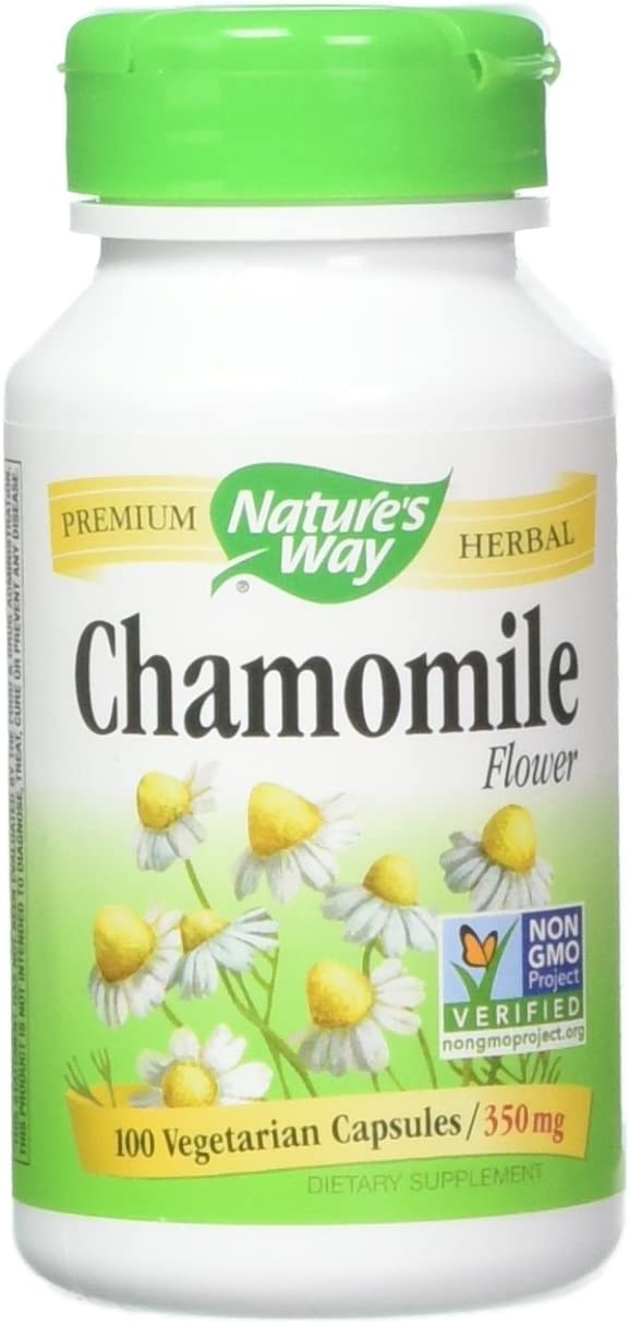 Nature's Way Chamomile Flowers, Capsules, 100 Count Pack of 2