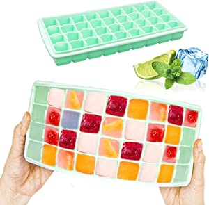 Silicone Ice Cube Tray, Reusable food Grade Silicone 36-Ice Cube Trays with Spill-Resistant Removable Lid Trays BPA Free, for Cocktail, Freezer. (Green)