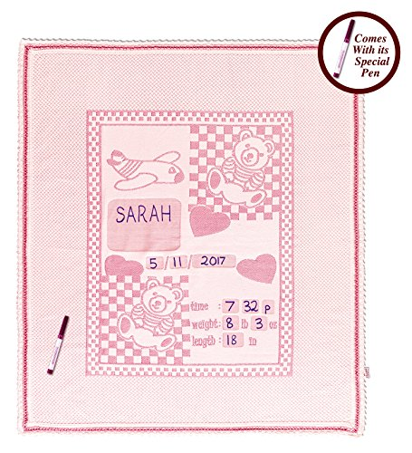 Personalized Baby Blanket Unique Shower Gifts Registry Idea for New-born Girl Boys Twins Moms Customized Receiving Keepsake Item with Special Pen to Write Name Birthday Weight Length (Teddy Bear Pink)