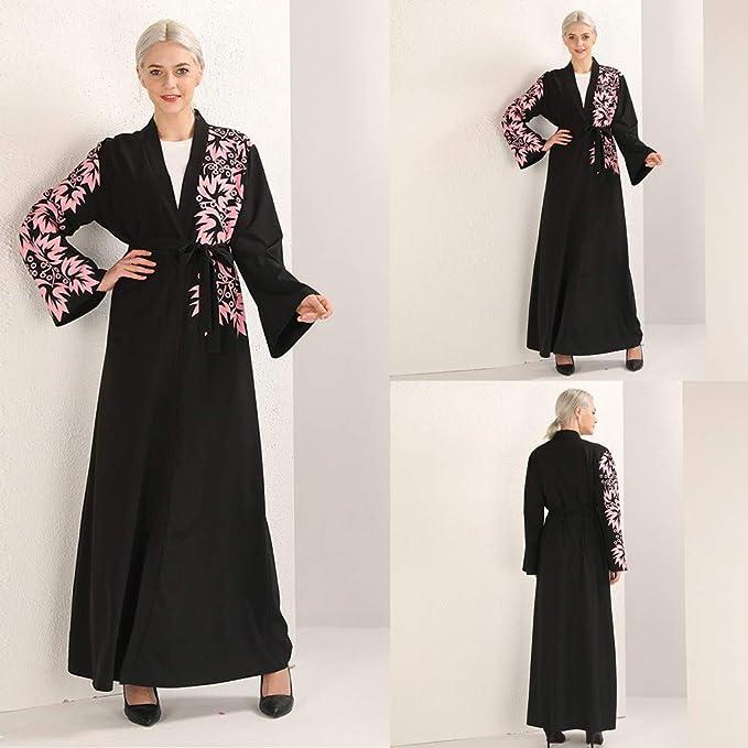 Vovotrade Vestido Largo Bordado Negro Bordado de Costura de Las ...