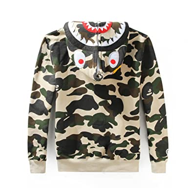 8540ce218573 Bathing Ape Bape Shark Jaw Camo Full Zipper Hoodie Men s Sweats Coat Jacket
