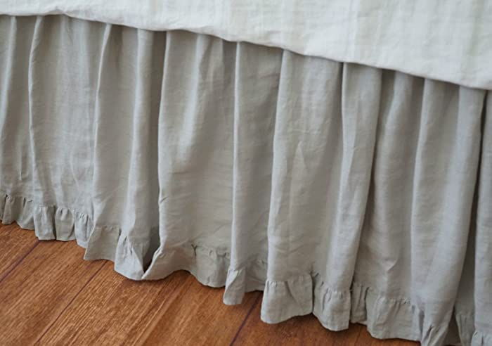 Linen Bed Skirt King.Amazon Com Stone Grey Bedskirt With Ruffle Hem Linen Bed