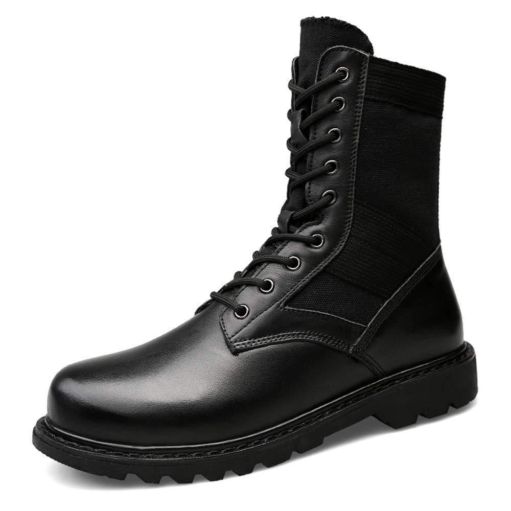 FuweiEncore Herrenmode Stiefel Mitte-Kalb, lässig aus echtem Leder für große Martin Stiefel (warme Velvet optional) (Farbe   Schwarz, Größe   41 EU) (Farbe   Wie Gezeigt, Größe   Einheitsgröße)