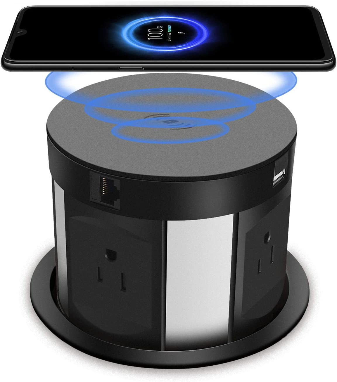 Automatic Pop Up Sockets,Retractable Recessed Power Strip,Pop Up Power Strip 4 Outlets,with Wireless Charger,2 USB Charging Ports, RJ45 Port,HDMI Port for Office Table and Workshop (Black)