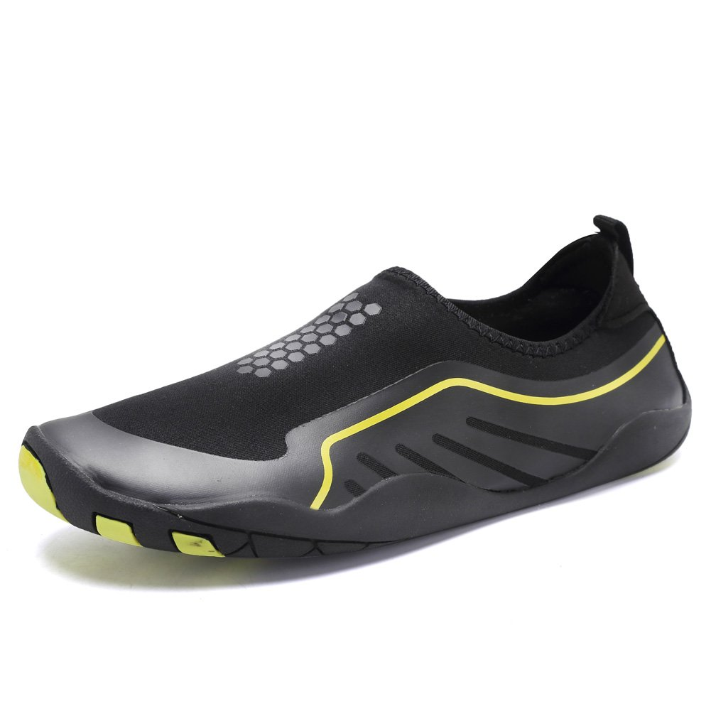 CIOR Water Shoes Men Women Aqua Shoes Barefoot Quick-Dry Swim Shoes with 14 Drainage Holes for Boating Walking Driving Lake Beach Garden Park Yoga,SYY04,J.Black,46