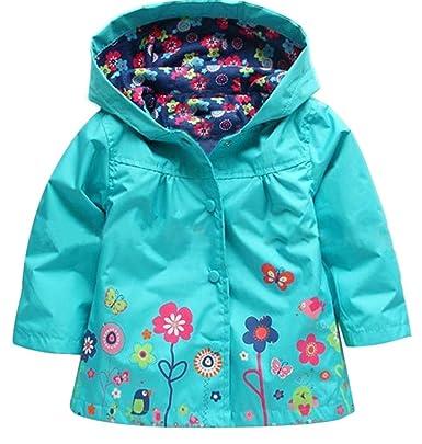 05b10189ff0c85 Yiyida Blumen Regenjacke Winddichte Wasserdicht Mädchen Regenmantel mit Kapuze  Kinder Sportliche Softshelljacke ,Blau Höhe 100
