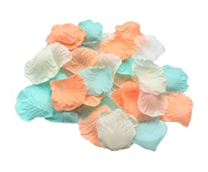 ALLHEARTDESIRES 900 Pack Mixed Pastel Peach Ivory Mint Green Silk Artificial Flower Petals for Wedding Confetti Flower Girl Bridal Shower Girl Birthday Nursery Room Decoration