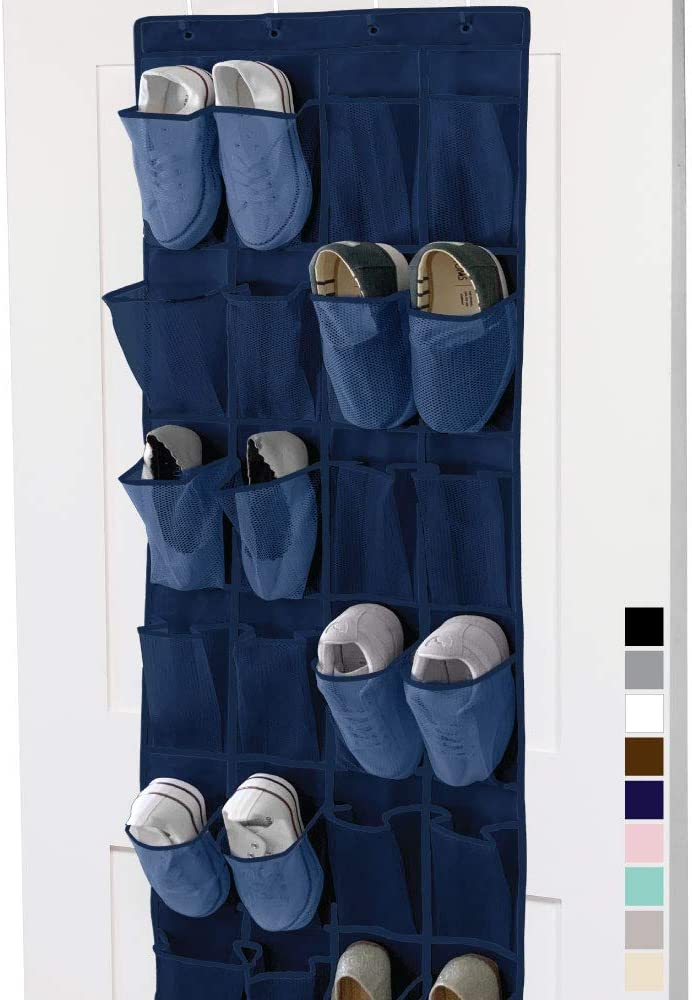 Gorilla Grip Premium Over The Door Mesh Pocket Shoe Organizer, 24 Large Breathable Durable Pockets, 64x19, Hooks, Stores Shoes, Home Storage Organizers Hang on Closet Doors, Organize Sneakers, Navy