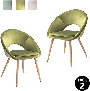 Mc Haus LAGUNA - Pack 2 Sillas Salón Tapizadas terciopelo Verde ...