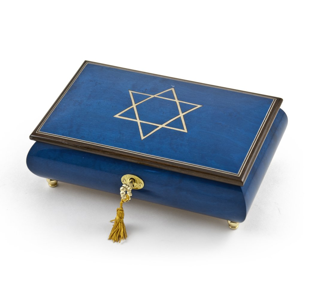 Handcrafted Royal Blue Music Jewelry Box with Star of David Inlay - There is Love (Wedding Song)