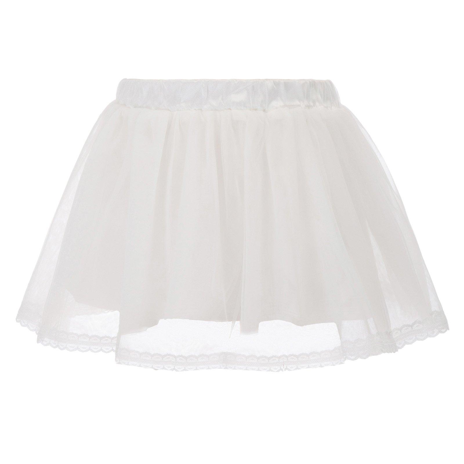 GRACE KARIN Girls Voile Layered Tutu Ruffle Skirt for Dance White 6~7Y CL798-2