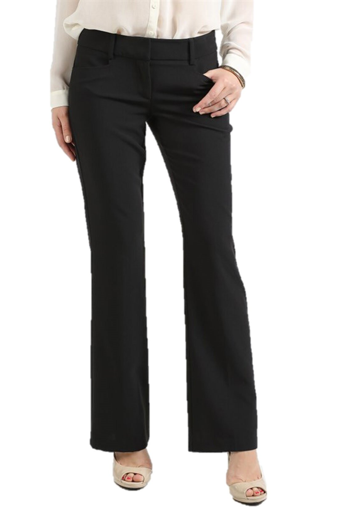 Ambiance Women's Bengaline Pants With Double Buttons Large Black Hidden BU