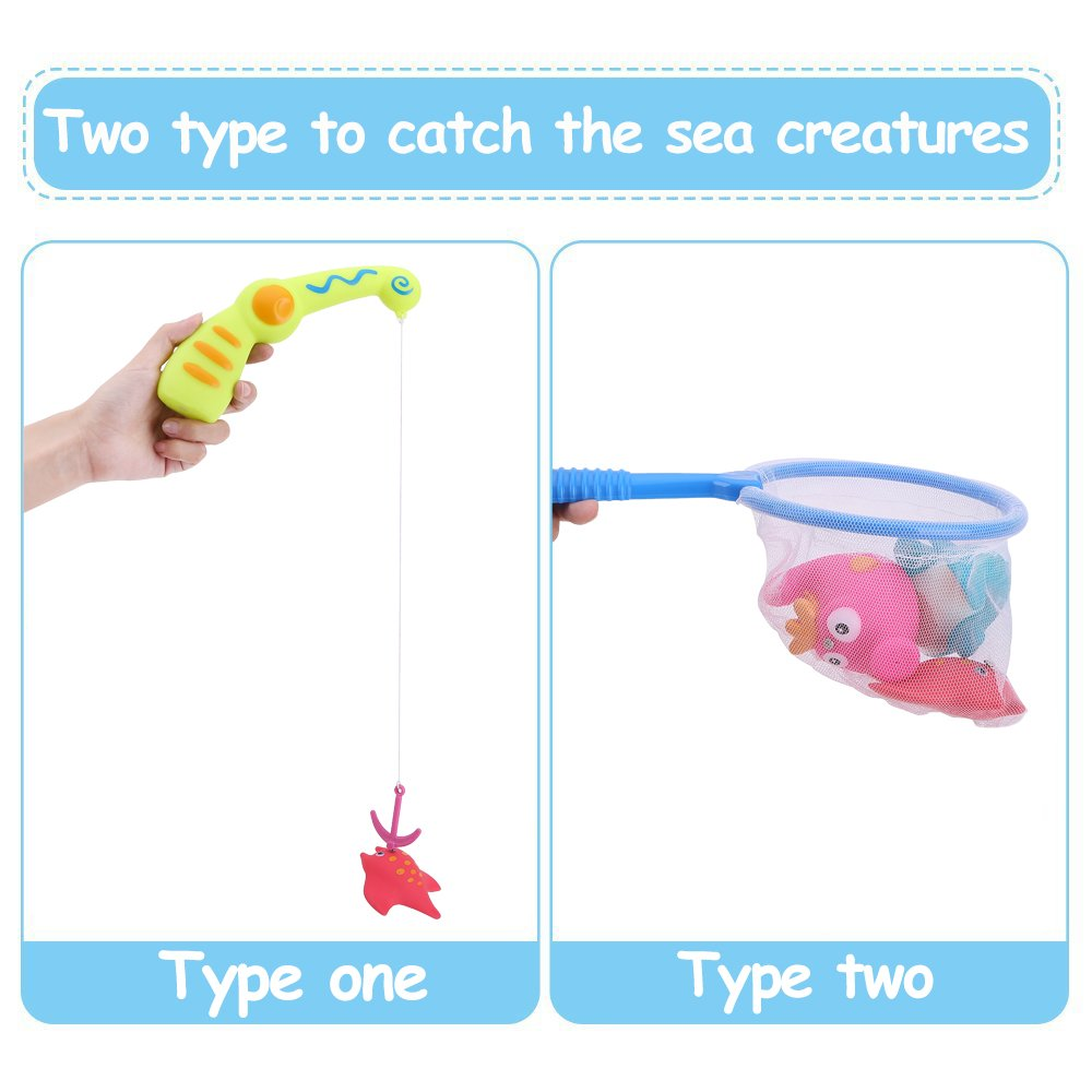 JCSHHUB Baby Fishing Bath Toy Bath Water Toys with Magnetic Fishing Rod, Bathtub Fun Time Best Gift for Kids Boys Girls With Organizer Bag (11 Pack)