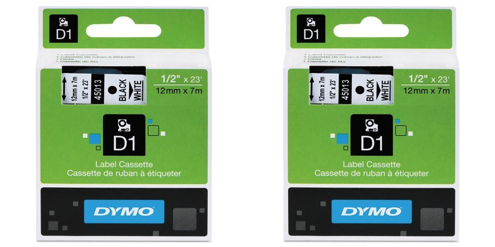 DYMO 45013 Standard D1 Labeling Tape for LabelManager Label Makers, Black Print On White Tape, 1/2'' W x 23' L, Pack of 2