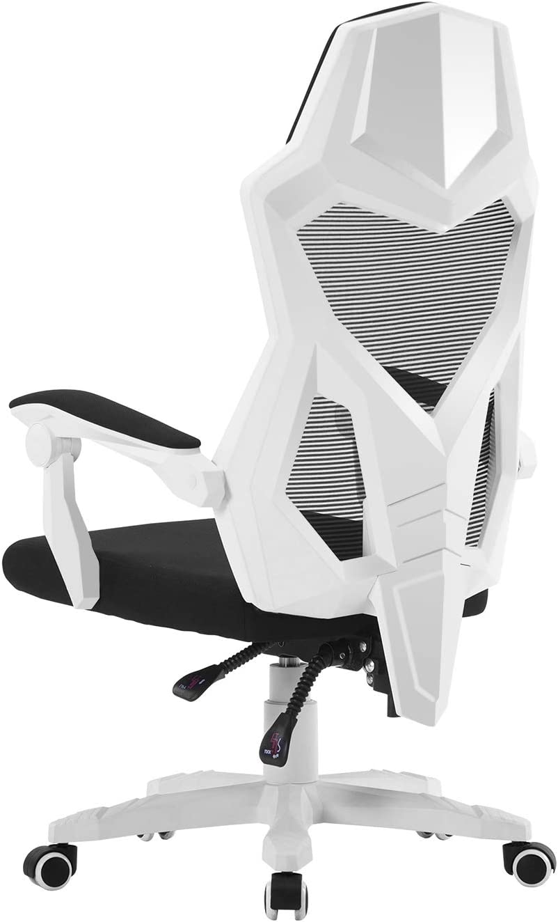 HOMEFUN Ergonomic Office Chair, High Back Adjustable Mesh Recliner Chair, Desk Task Chair with Armrests White