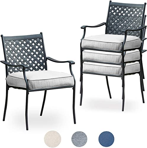 Top Space Metal Dining Chair Indoor Outdoor Use Patio Dinning Chairs Set,Dining Bistro Cafe Side Metal Chairs Set of 4