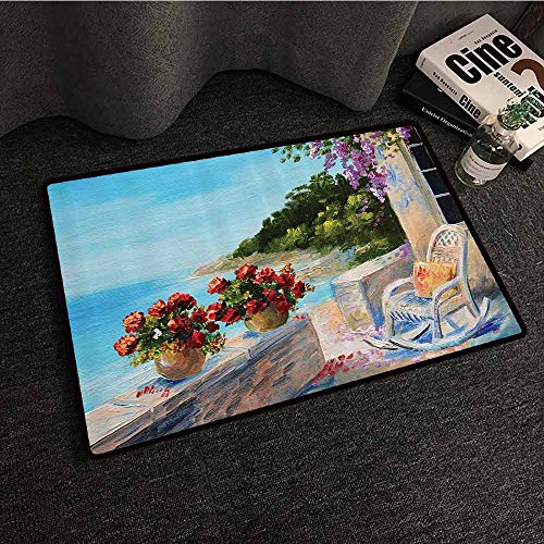 Butterfly Collection Rocking Chair - Lakehouse Decor Collection Non-Slip Door mat Sea View from a Balcony with Cosy Rocking Chair and Flowers in Summer Clear Sky Oil Painting Durable W31 xL47 Turquoise Red Lilac Blue