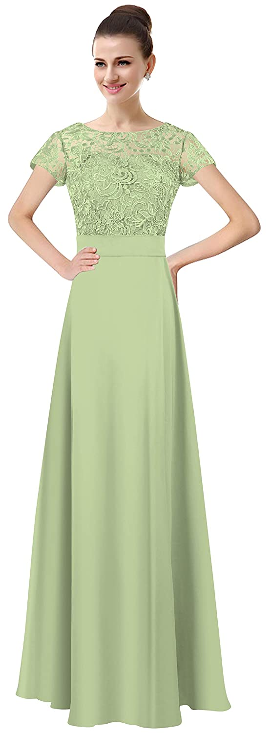 Matcha Lily Anny Womens Long Lace Bridesmaid Dresses Prom Gown with Short Sleeves L061LF