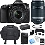 Canon EOS 80D CMOS DSLR Camera w/ EF-S 18-135mm Lens + 55-250mm Telephoto Lens Bundle includes Camera, Lenses, 32GB SDHC Memory Card, Reader, Wallet, Battery, Charger, Beach Camera Cloth and More!