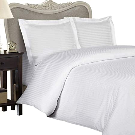 Tula Linen Juego de sábanas de 6 Piezas, 1200 Hilos Bolsillo de 42 cm, 100% algodón Egipcio Rayas Color (King, 150 x 200 CM, Blanco): Amazon.es: Hogar