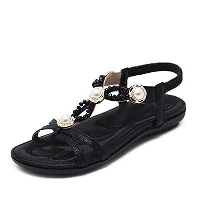 73e1def09f2 Women Flat Sandals Shoes Bohemia Flip Flop Crystal Female Soft Leisure  String Bead Wedges Sandals Black