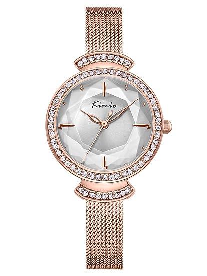 Alienwork Reloj Mujer Relojes Acero Inoxidable Oro Rosa Analógicos Cuarzo Blanco Impermeable Strass Elegante