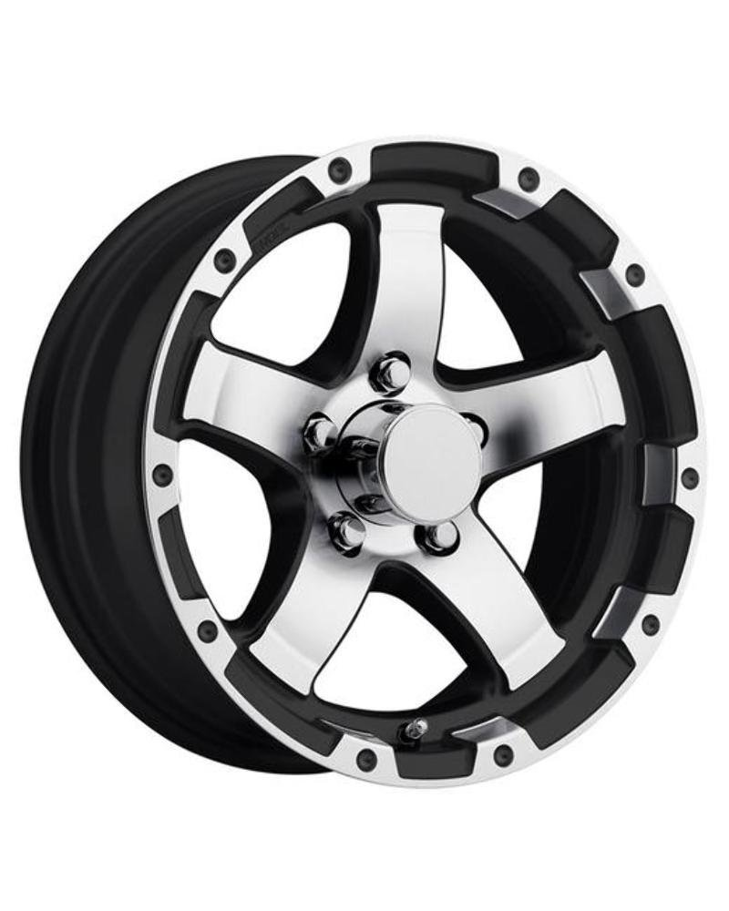 13'' T08 ALUMINUM TRAILER WHEEL WITH BLACK AND MACHINED 5 SPOKE 13X5 5X4.50 T08-35545BMLS