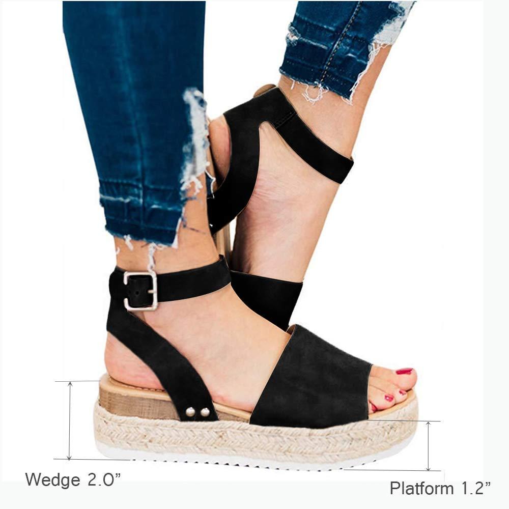 FIRENGOLI Sara Love Womens Wedges Sandal Open Toe Ankle Strap Trendy Espadrille Platform Sandals Flats Black 42