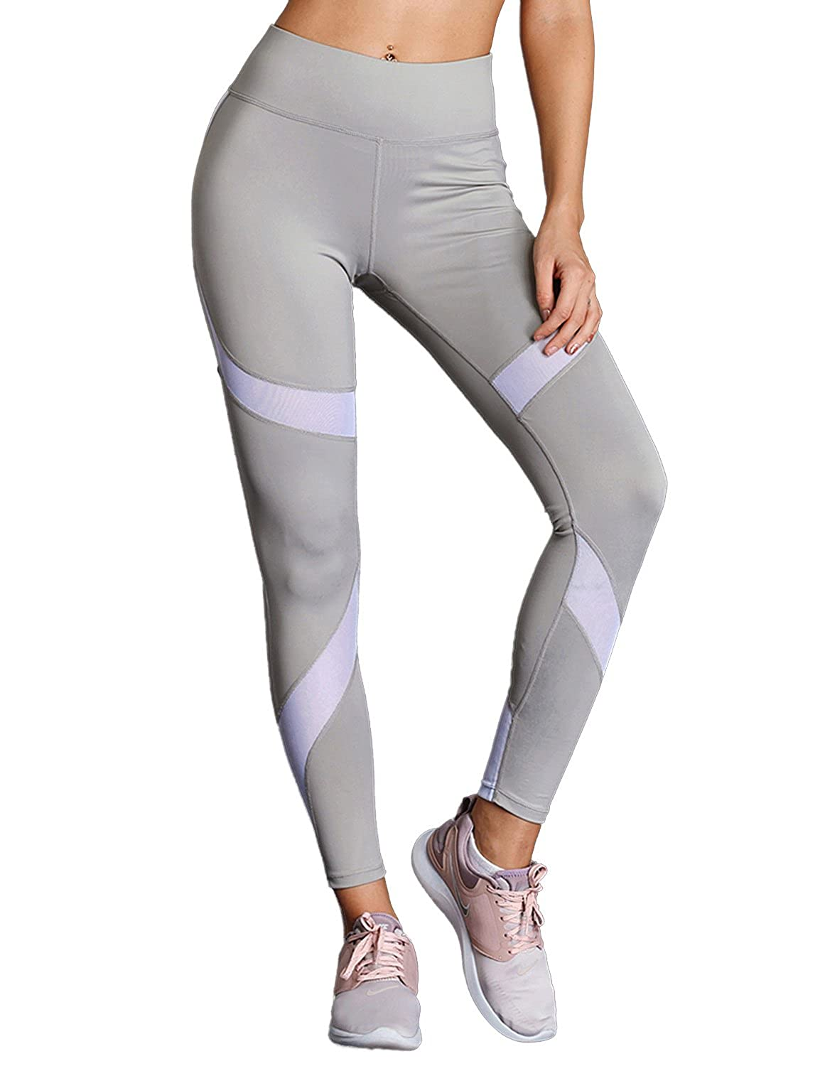 791705cf9f8770 Women\'s mesh workout legging pants are designed with high waist and wide  waistband, which controls your curves and streamlines your shape.