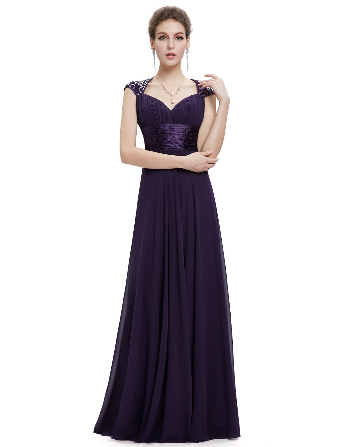 Ever-Pretty Womens Sleeveless V Neck Open Back Long Evening Gown 14 US Purple by Ever-Pretty (Image #4)