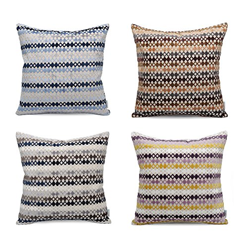 Acanva Decorative Accent Throw Pillow Cushion with Pillowcase Cover Sham and Insert Filling, 24'' L x 24'' W , Diamond Pattern, Multicolor, Set of 4 by Acanva