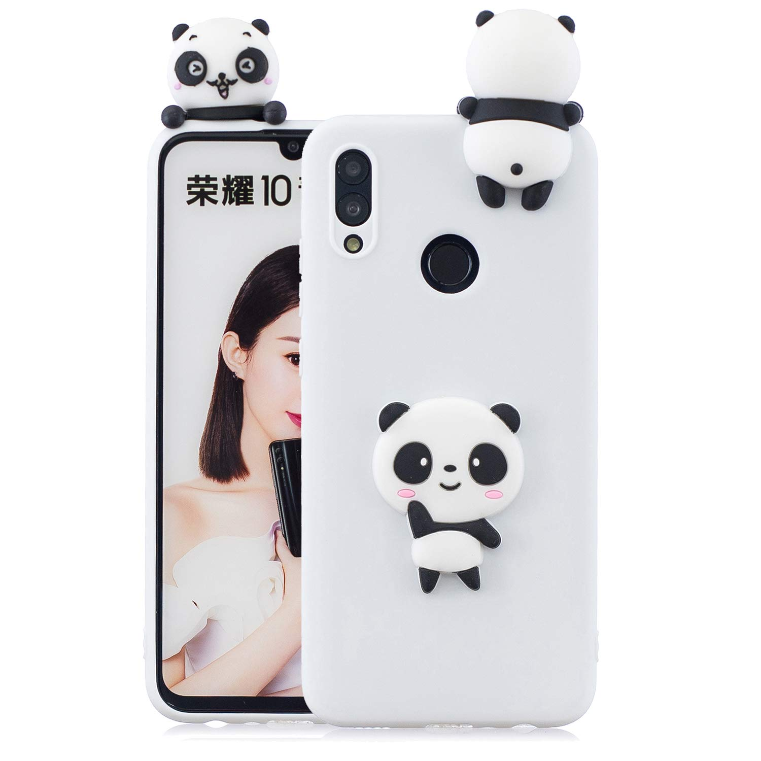 TPU Case for Huawei P Smart 2019/Huawei Honor 10 Lite,Moiky Funny 3D White Panda Design Ultra Thin Soft Silicone Resistant Back Cover Phone Case Unique Style Protect Case by MOIKY (Image #2)