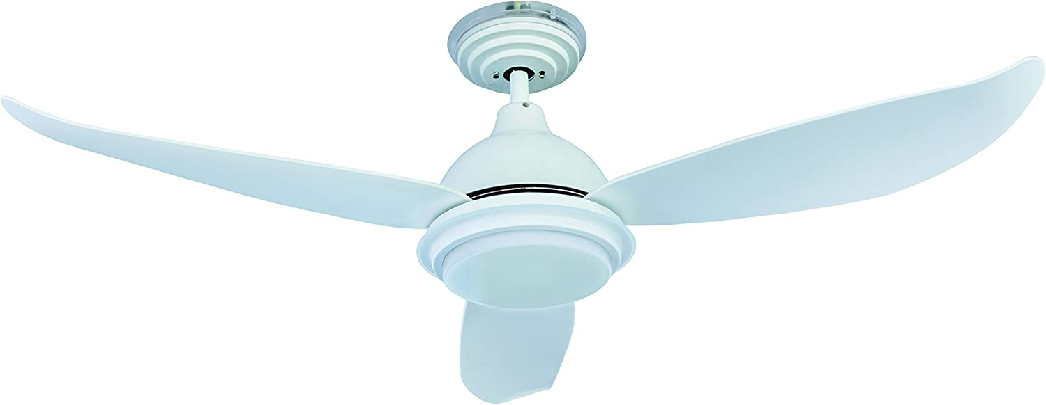 """Low Energy 48"""" 122cm Ceiling Fan Pepeo Raja White with dimmable LED Light Fixture and Remote Control [Energy Class A+]"""