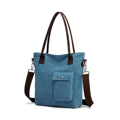 6475e9238ee5e Gindoly Damen Handtasche Schultertasche Canvas Damen Umhägetasche Vintage  Shopper Tasche für Alltag Büro Schule Reise blau