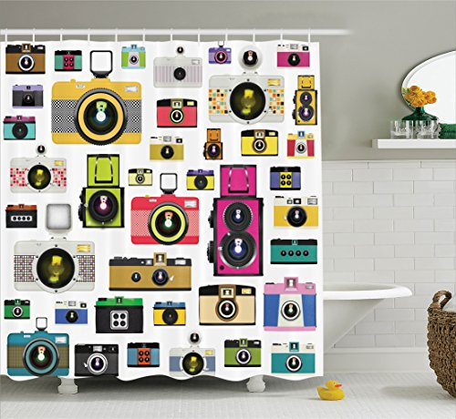 Vintage Shower Curtain Extra Long by Ambesonne, Vintage Style Old Fashioned Photo Cameras Artful Hobby Studio Graphic Design Art, Fabric Bathroom Shower Curtain, 84 Inches Extra Long, Multi