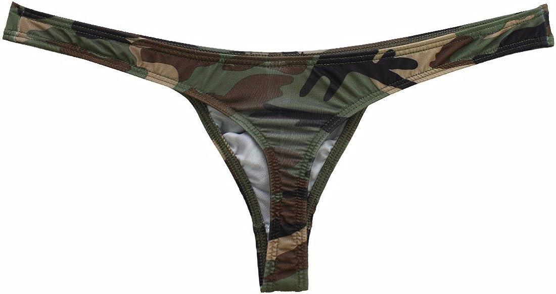 2x Herren Tanga G String Pouch Tanga Camouflage Unterwäsche Unterhose Gelb