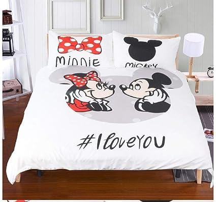 Funda Nordica Mickey Y Minnie 150.Giovanna Mickey Minnie Mouse I Love You Juego De Cama 3 Piezas