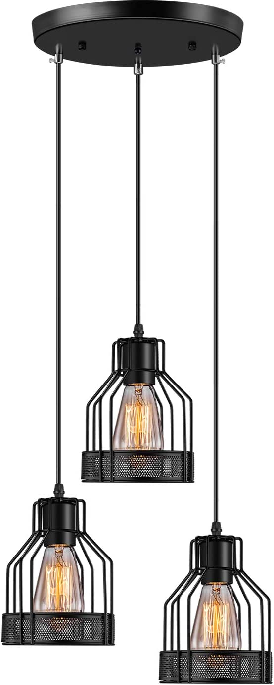 Industrial Pendant Lighting Licperron E26 Base Edison Metal Caged Vintage Hanging Pendant 3-Lights Rustic Pendant Light Fixture for Kitchen Dining Room Bar Hotel