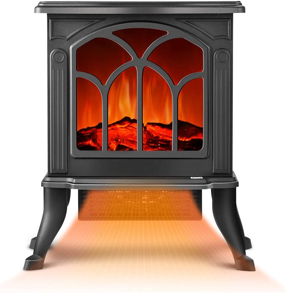Electric Fireplace Heater - Infrared Space Heater with 3D Flame Effect, 2 Heat Modes, 1500W Ultra Strong Power, Adjustable Flame Brightness, Overheat Protection, Free Standing Fireplace Stove Heater