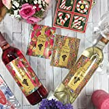 """Hatinkaart – Homemade Wine Bottle Labels – 100 Pack – Set of 10 Different Design Stickers – 3.93"""" x 4.72"""" – with 10 Wonderful Congratulations Cards"""