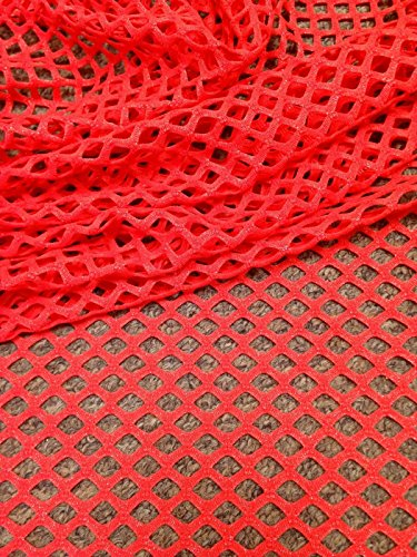 Coral Red Big Hole Diamond Mesh w/ Subtle Silver Foil Stretch Polyester Spandex Fabric by the Yard Foil Mesh Dress