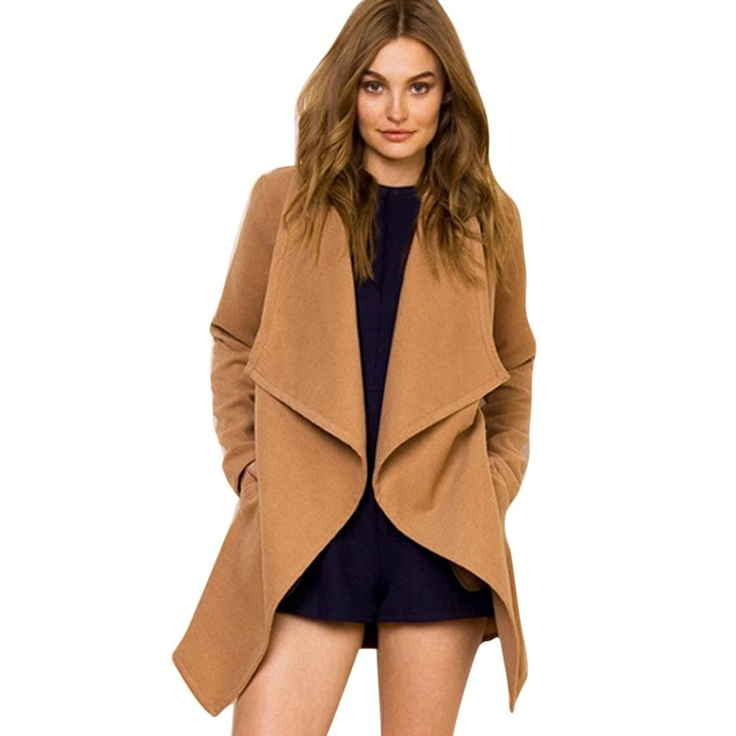 Perman Women's Ruffles Collar Coat Jacket Parka Outwear Cardigan Coat Sashes