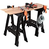 Sharewin Portable Clamping Sawhorse,Folding Adjustable Sawhorses with Bar Clamps, Built-in Shelf and Cord Hooks - 2 pack