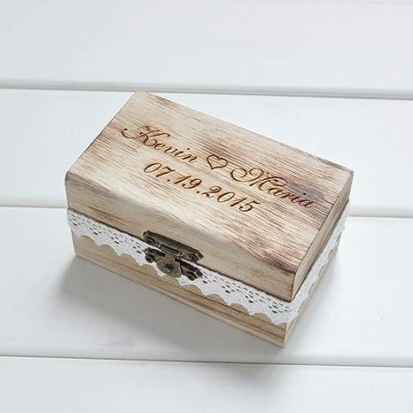 ZYC Regalo Personalizado Caja de Portador de Anillo de Boda rústica Caja de Anillo de Boda de Madera Personalice Sus Nombres y Fecha: Amazon.es: Deportes y aire libre