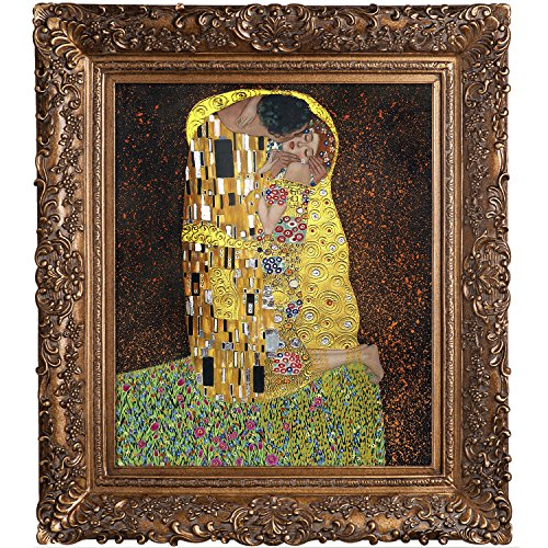 a696bba6944a La Pastiche KLG1839-FR-256G20X24 Framed Oil Painting The Kiss Full view  Metallic Embellished by Gustav Klimt with Burgeon Gold Frame