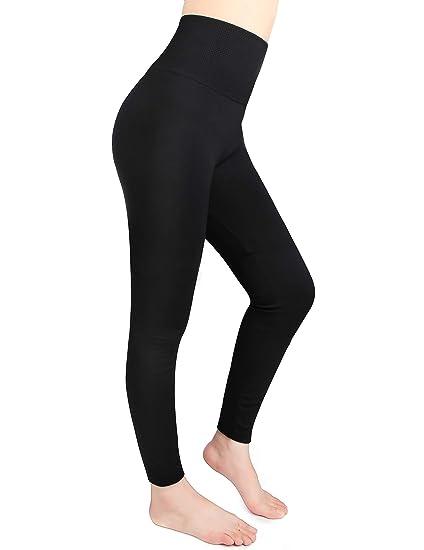 492ee9b979093 Moon Wood Fleece Lined Leggings Women High Waist Elastic Slimming Seamless Warm  Winter Leggings Black