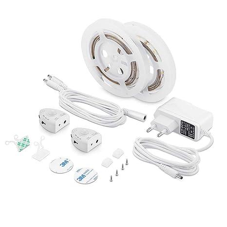 LUXJET® Recargable 30LED 1M tira luz cuerda,Luz Armario Luz LED Nocturna con Sensor