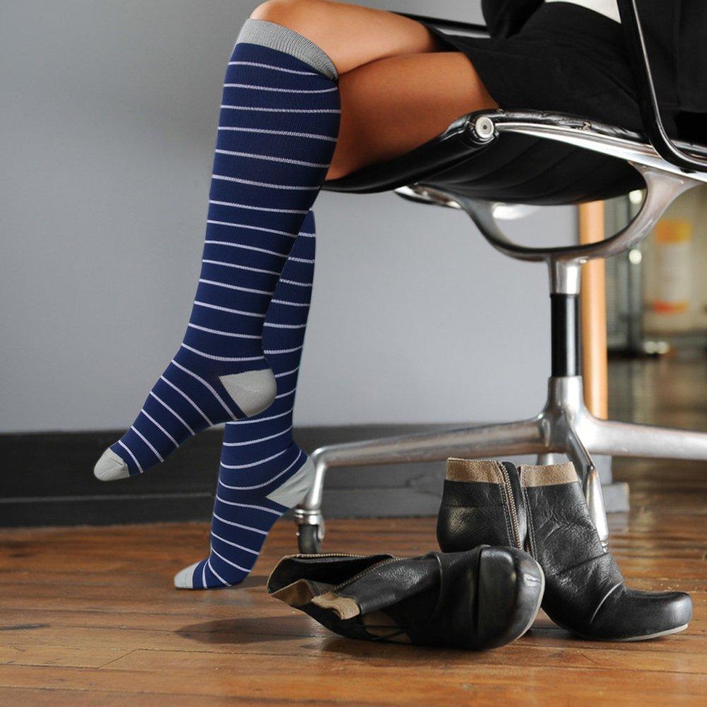 HLTPRO Compression Socks for Women & Men - 1 to 6 Pairs 20-30 mmHg Compression Stockings for Travel, Running, Pregnancy, Nurse by HLTPRO (Image #6)